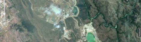 Malawi's largest mine. Kayelekera Uranium Mine operate by Paladin Africa Limited in Karonga,  Northern Malawi  -9.996408, 33.700476. (Courtesy of Google Earth)