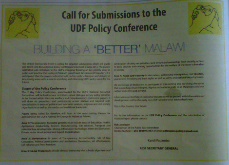 UDF Call for Submissions to UDF Policy Conference (10 May 2013, Daily Times)