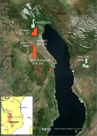 Location of Intra Energy's Concessions in Malawi and Tanzania (Courtesy of Intra Energy)