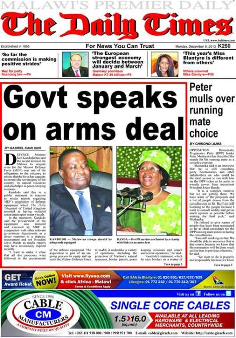 Front Page of The Daily Times, 9 December 2013