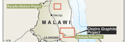 Globe Metals & Mining Projects in Malawi (Taken from Globe's Chiziro Graphite Project Update, 25 June 2014)