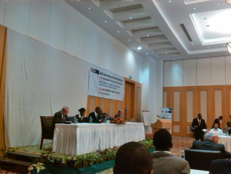 L-R: Neville Huxham (Globe Metals and Mining), Appolenia Mbowe (World Bank), Atupele Muluzi (Minister of Natural Resources, Energy and Mining), Leonard Kalindekafe (PS of Mining), James Otto (Consultant)