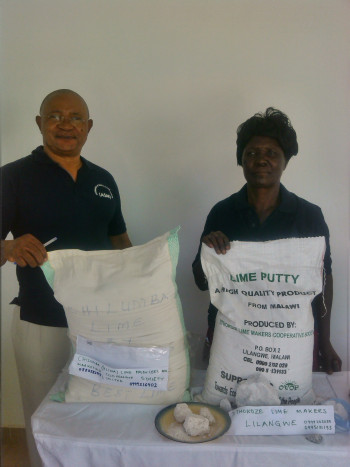 Lime producers: Alfred Msowoya of Chilumba (Uliwa) Lime Producers  and Marketing Cooperative Society Ltd and Tithokoze Lime Makers Cooperative Society with activities in Lilangwe