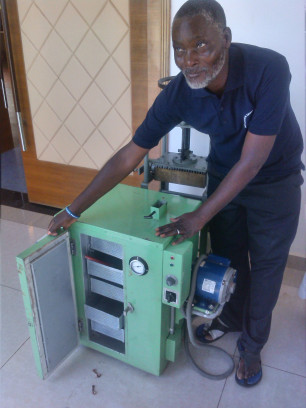 Christopher Banda, part of Chavi Cooperative, produces plaster of paris and chalk from gypsum in Dowa, Malawi