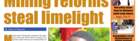 Front page of the Mining Review (Issue No. 20, December 2014, Marcel Chimwala)