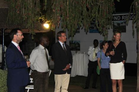 HE Michael Nevin (British High Commissioner to Malawi), Chimwemwe Chikuse (Geologist with RAKGas), Matthias Rompel (Country Director GIZ), Kaulungu Simwaka (PWYP National Coordinator), Kerry Johnstone (DFID Private Sector Development Adviser), Barbara Dutzler (Team Leader of Strengthening Public Financial and Economic Management in Malawi)