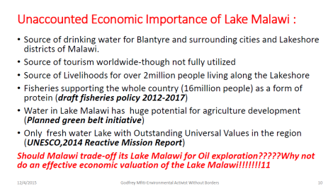 2015 Godfrey Mfiti Is Oil Drilling in Lake Malawi Sustainable Dev Slide 10