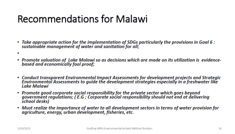 2015 Godfrey Mfiti Is Oil Drilling in Lake Malawi Sustainable Dev Slide 16