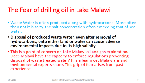 2015 Godfrey Mfiti Is Oil Drilling in Lake Malawi Sustainable Dev Slide 7