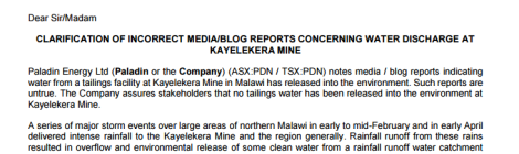 2016-04-18 Clarification on Incorrect Media Reports Concering Water Discharge At Kayelekera