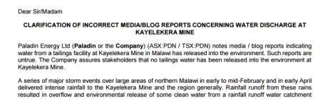 2016-04-18 Clarification on Incorrect Media Reports Concering Water Discharge At Kayelekera