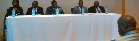 L-R: Coumba Doucoure Ngalani (AMDC Lead Legal Consultant), Charles Kaphwiyo (Director of Mines), Hon Bright Msaka SC (Minister of Natural Resources, Energy and Mining), Jalf Salima (Director of Geological Surveys Department), Grain Malunga (Coordinator of Malawi Chamber of Mines and Energy)