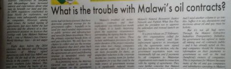 2017-03-12 Sunday Times Environ Column What the Trouble With Malawi's Oil Contracts