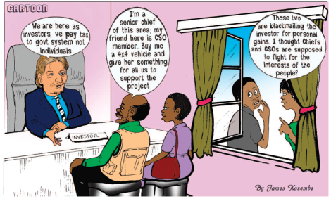 201705 Malawi Mining Trade Review Cartoon Investor Chief CSO Rights Corruption
