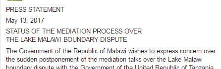20170513 Press Statement Statuse of Mediation Process over Lake Malawi Boundary Dispute