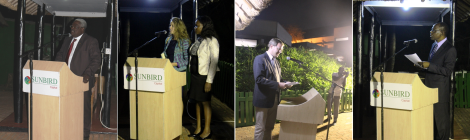 EITI Approval Celebration (L-R): Grain Malunga (Malawi Chamber of Mines and Energy), Rachel Etter-Phoya (Citizens for Justice), Elyvin Nkhonjera Chawinga (ActionAid Malawi), Matthias Rompel (GIZ), Crispin Kulemeka (Director of Revenue, Ministry of Finance, Economic Planning and Development)